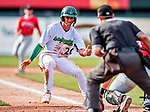 29 July 2018: Vermont Lake Monsters infielder Max Schuemann is out at home during game action against the Batavia Muckdogs at Centennial Field in Burlington, Vermont. The Lake Monsters defeated the Muck Dogs 4-1 in NY Penn League action. Mandatory Credit: Ed Wolfstein Photo *** RAW (NEF) Image File Available ***