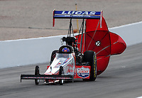 Nov. 1, 2008; Las Vegas, NV, USA: NHRA top fuel dragster driver Morgan Lucas during qualifying for the Las Vegas Nationals at The Strip in Las Vegas. Mandatory Credit: Mark J. Rebilas-
