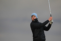 Ronan Cowhey (Elm Park) on the 18th tee during Round 2 of the Ulster Boys Championship at Portrush Golf Club, Portrush, Co. Antrim on the Valley course on Wednesday 31st Oct 2018.<br /> Picture:  Thos Caffrey / www.golffile.ie<br /> <br /> All photo usage must carry mandatory copyright credit (&copy; Golffile | Thos Caffrey)