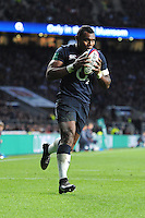 Semesa Rokoduguni of England kisses the ball before he touches down for his second try of the afternoon during the Old Mutual Wealth Series match between England and Fiji at Twickenham Stadium on Saturday 19th November 2016 (Photo by Rob Munro)
