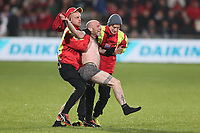 11th July 2020; Christchurch, New Zealand;  A field invader is taken away during Crusaders versus Blues in the Super Rugby Aotearoa. Orangetheory Stadium, Christchurch,