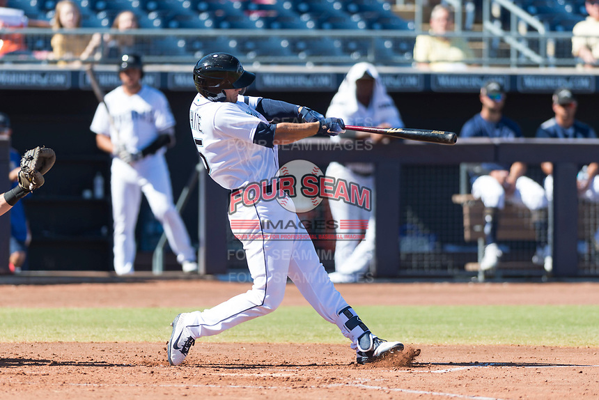 Peoria Javelinas first baseman Evan White (15), of the Seattle Mariners organization, swings at a pitch during an Arizona Fall League game against the Scottsdale Scorpions at Peoria Sports Complex on October 18, 2018 in Peoria, Arizona. Scottsdale defeated Peoria 8-0. (Zachary Lucy/Four Seam Images)