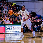 19 January 2019: University of Vermont Catamount Guard Ben Shungu, a Redshirt Sophomore from Burlington, VT, in first half Men's Basketball action against the Binghamton University Bearcats at Patrick Gymnasium in Burlington, Vermont. The Catamounts defeated the Bearcats 78-50 to remain unbeaten in conference play to date this season. Mandatory Credit: Ed Wolfstein Photo *** RAW (NEF) Image File Available ***