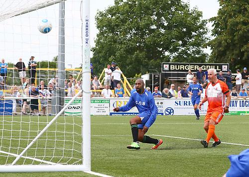June 17th 2017, Gander Green Lane, Sutton, England; Football Charity Match; Chelsea Legends versus Rangers Legends; Chelsea claw a goal back, 4-1 Rangers