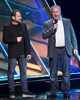 LOS ANGELES - DECEMBER 6: (L-R) Presenters Leonard Boyarsky and Tim Cain appear onstage at the 2018 Game Awards at the Microsoft Theater on December 6, 2018 in Los Angeles, California. (Photo by Frank Micelotta/PictureGroup)