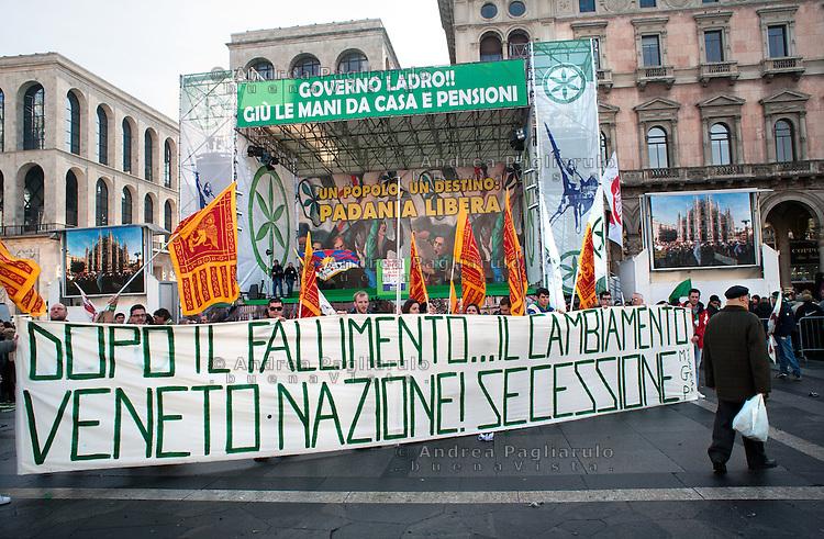 Milano, piazza del Duomo, 22/01/12.Manifestazione Lega Nord