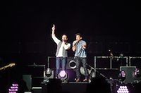 Drew Lachey and Jeff Tmmons of 98 Degrees perform during The Package Tour 2013, BB&T Center, Sunrise, FL, June 22, 2013