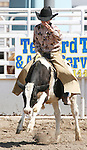 Hunter Hill of Fallon competes in the Junior Boys Calf Riding event at the Fallon Junior Rodeo.  Photo by Tom Smedes.