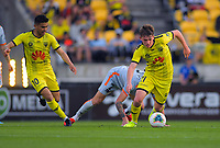 Phoenix's Ulises Davila supports Callum McCowatt during the A-League football match between Wellington Phoenix and Brisbane Roar at Westpac Stadium in Wellington, New Zealand on Saturday, 23 November 2019. Photo: Dave Lintott / lintottphoto.co.nz