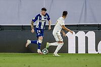 10th July 2020; Estadio Alfredo Di Stefano, Madrid, Spain; La Liga Football, Real Madrid versus Deportivo Alaves; Oliver Burke (Deportivo Alaves) comes forward on the ball