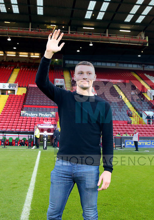 New signing Caolan Lavery introduced to the fans during the Checkatrade Trophy match at Bramall Lane Stadium, Sheffield. Picture date: August 30th, 2016. Pic Simon Bellis/Sportimage