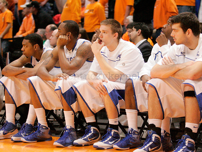 The Cats sit in silence as the game against Tennessee at the Thompson-Bowling Arena on Saturday. The Cats lost 74-65.Photo by Zach Brake | Staff.