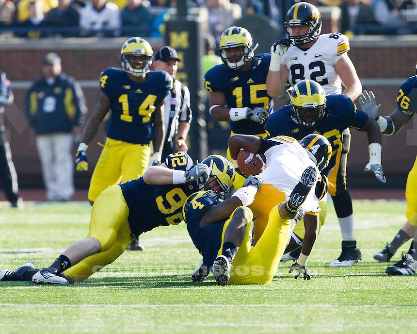 The University of Michigan football team beat the University of Iowa, 42-17, on Senior Day at Michigan Stadium in Ann Arbor, Mich., on November 17, 2012.
