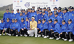 SUZHOU, CHINA - APRIL 18:  Y.E. Yang (C)  of Korea poses with the volunteers after winning the Volvo China Open on April 18, 2010 in Suzhou, China. Photo by Victor Fraile / The Power of Sport Images