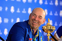 Thomas Bjorn (Team Europe Captain) during media interview after the sunday singles at the Ryder Cup, Le Golf National, Paris, France. 30/09/2018.<br /> Picture Phil Inglis / Golffile.ie<br /> <br /> All photo usage must carry mandatory copyright credit (&copy; Golffile | Phil Inglis)