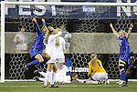 02 December 2011: Duke's Kim DeCesare (19, left) celebrates her first half goal. The Duke University Blue Devils defeated the Wake Forest University Demon Deacons 4-1 at KSU Soccer Stadium in Kennesaw, Georgia in an NCAA Division I Women's Soccer College Cup semifinal game.