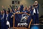 24 MAR 2012:  Members of the Emory Eagles women's swimming and diving team celebrate winning the Div III National Championship. Michael Hickey/NCAA Photos