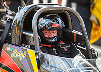Jul 8, 2017; Joliet, IL, USA; NHRA top fuel driver Luigi Novelli during qualifying for the Route 66 Nationals at Route 66 Raceway. Mandatory Credit: Mark J. Rebilas-USA TODAY Sports