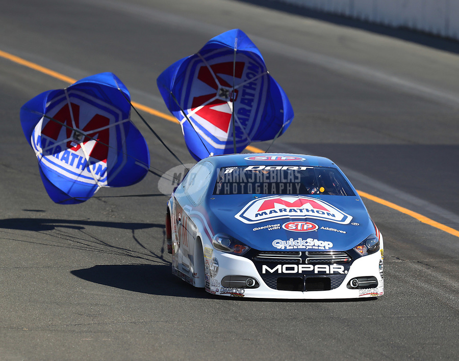 Jul 29, 2017; Sonoma, CA, USA; NHRA pro stock driver Allen Johnson during qualifying for the Sonoma Nationals at Sonoma Raceway. Mandatory Credit: Mark J. Rebilas-USA TODAY Sports