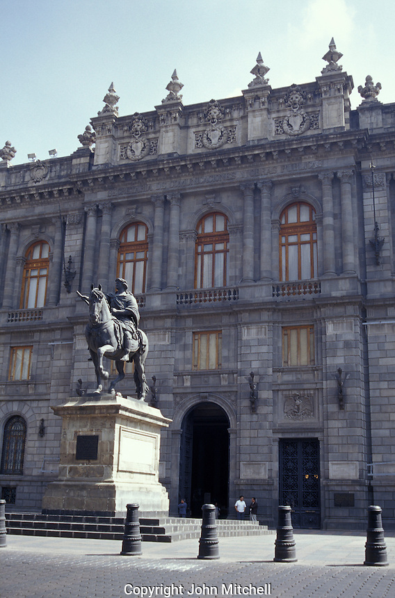 The Museo Nacional de Arte in downtown Mexico City. The National Museum of Art houses examples of every school of Mexican art up until the 20th century. In front of the building stands El Caballito, a statue of King Carlos IV of Spain  created by Manuel Tolsa in 1802.