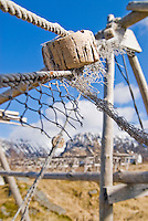 Old netting hanging from unused stockfish drying rack, Vestersand, Lofoten, Norway