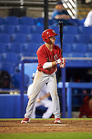 Palm Beach Cardinals shortstop Mikey Reynolds (4) at bat during a game against the Dunedin Blue Jays on April 15, 2016 at Florida Auto Exchange Stadium in Dunedin, Florida.  Dunedin defeated Palm Beach 8-7.  (Mike Janes/Four Seam Images)