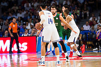 Real Madrid's player Gustavo Ayon and Unicaja Malaga's player Dejan Musli during match of Liga Endesa at Barclaycard Center in Madrid. September 30, Spain. 2016. (ALTERPHOTOS/BorjaB.Hojas) /NORTEPHOTO.COM