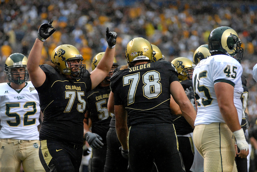 31 Aug 2008: Colorado center Daniel Sanders (75) celebrates a touchdown against Colorado State. The Colorado Buffaloes defeated the Colorado State Rams 38-17 at Invesco Field at Mile High in Denver, Colorado. FOR EDITORIAL USE ONLY