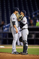 Lakeland Flying Tigers starting pitcher A.J. Ladwig (50) talks with catcher Austin Green (30) during a game against the Tampa Yankees on April 7, 2017 at George M. Steinbrenner Field in Tampa, Florida.  Lakeland defeated Tampa 5-0.  (Mike Janes/Four Seam Images)