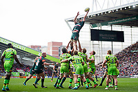 Mike Fitzgerald of Leicester Tigers wins the ball at a lineout. Aviva Premiership match, between Leicester Tigers and Northampton Saints on April 14, 2018 at Welford Road in Leicester, England. Photo by: Patrick Khachfe / JMP