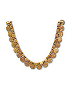 Mycenaean gold necklace with waz lily shaped beads from the Mycenaean cemetery of Midea tomb 10, Dendra, Greece. National Archaeological Museum Athens Cat no 8748.  White Background.