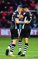 Lincoln City's Harry Anderson celebrates scoring the opening goal 1-1 with Josh Ginnelly<br /> <br /> Photographer Andrew Vaughan/CameraSport<br /> <br /> The EFL Sky Bet League Two - Crewe Alexandra v Lincoln City - Saturday 11th November 2017 - Alexandra Stadium - Crewe<br /> <br /> World Copyright &copy; 2017 CameraSport. All rights reserved. 43 Linden Ave. Countesthorpe. Leicester. England. LE8 5PG - Tel: +44 (0) 116 277 4147 - admin@camerasport.com - www.camerasport.com