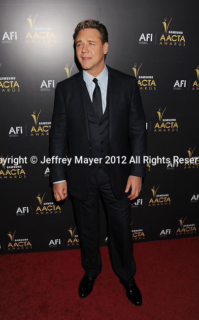 WEST HOLLYWOOD, CA - JANUARY 27: Russell Crowe attends the 2012 Australian Academy Of Cinema And Television Arts Awards at Soho House on January 27, 2012 in West Hollywood, California.