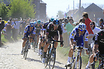 The peloton including Tom Boonen (BEL) Quick-Step Floors and Ian Stannard (GBR) Team Sky on pave sector 29  Troisvilles a Inchy during the 115th edition of the Paris-Roubaix 2017 race running 257km Compiegne to Roubaix, France. 9th April 2017.<br /> Picture: Eoin Clarke | Cyclefile<br /> <br /> <br /> All photos usage must carry mandatory copyright credit (&copy; Cyclefile | Eoin Clarke)