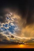 A dramatic sunset during the wheat harvest, Goodland, Kansas USA.