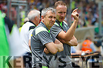 Peter Keane Kerry Manager and Tommy Griffin.  Kerry v Clare in the Munster Minor Football Final at Fitzgerald Stadium on Sunday.