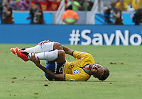 Brazil's Neymar is felled