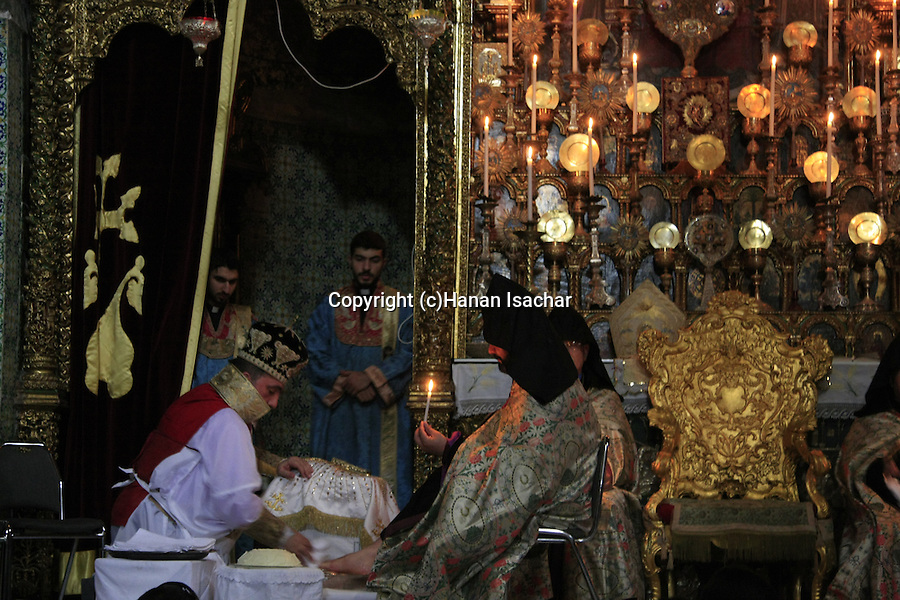 Israel, Jerusalem Old City, Easter, Armenian Orthodox Washing of the Feet ceremony at St. James Cathedral