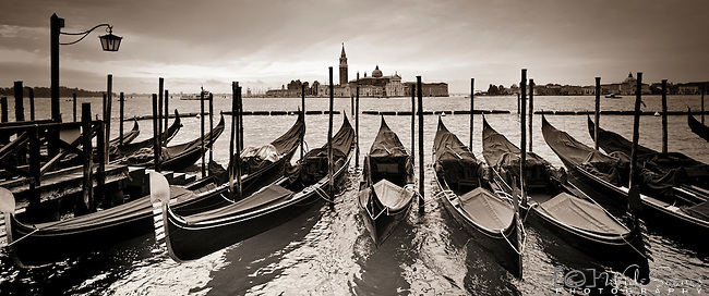 Gondolas bobbing in San Marco, Venice