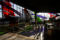 Montreal (qc) CANADA -  Dec 2011 file photo -. - Champs de Mars metro station stained glass by Marcelle Ferron.