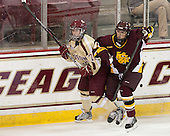 Dru Burns (BC - 7), Zoe Hickel (UMD - 44) - The visiting University of Minnesota Duluth Bulldogs defeated the Boston College Eagles 3-2 on Thursday, October 25, 2012, at Kelley Rink in Conte Forum in Chestnut Hill, Massachusetts.