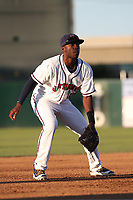 Mylz Jones (13) of the Lancaster JetHawks in the field at third base during a game against the Lake Elsinore Storm at The Hanger on June 12, 2017 in Lancaster, California. Lancaster defeated Lake Elsinore, 13-6. (Larry Goren/Four Seam Images)