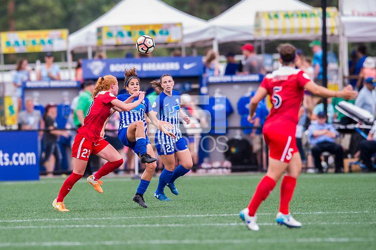 Boston, MA - Saturday July 01, 2017: Tori Huster and Angela Salem during a regular season National Women's Soccer League (NWSL) match between the Boston Breakers and the Washington Spirit at Jordan Field.