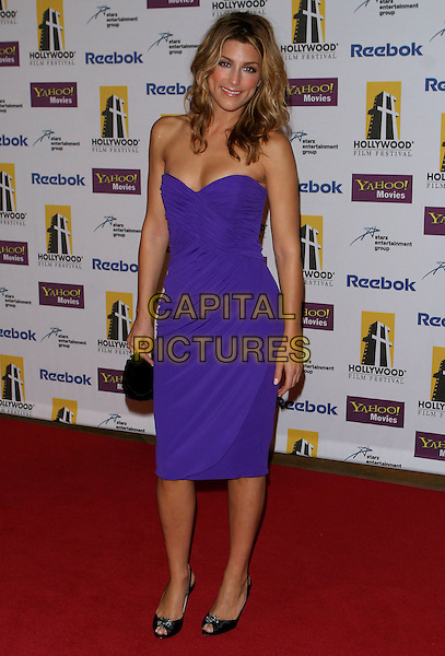 JENNIFER ESPOSITO.9th Annual Hollywood Film Festival held at the Beverly Hilton Hotel..USA, United States.24th October 2005.Ref: ADM/JW.full length purple strapless fitted knee length dress black peep toe shoes smiling posed.www.capitalpictures.com.sales@capitalpictures.com.© Capital Pictures.......