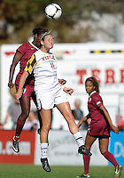 COLLEGE PARK, MD - OCTOBER 21, 2012:  Olivia Wagner (11) of the University of Marylandgoes up for a header against Jessica Price (6)  of Florida State during an ACC women's match at Ludwig Field in College Park, MD. on October 21. Florida won 1-0.