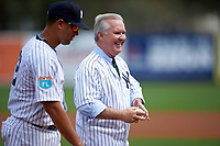 Tampa mayor Bob Buckhorn with Gary Sanchez after throwing out a ceremonial first pitch before a New York Yankees Spring Training game against the Detroit Tigers on March 2, 2016 at George M. Steinbrenner Field in Tampa, Florida.  New York defeated Detroit 10-9.  (Mike Janes/Four Seam Images)