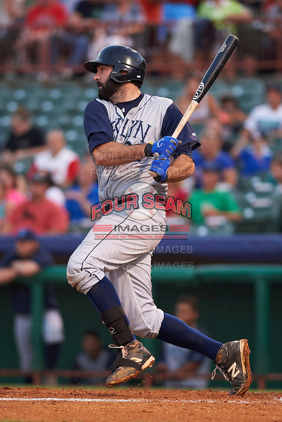 Brooklyn Cyclones first baseman Zach Mathieu (32) at bat during a game against the Tri-City ValleyCats on September 1, 2015 at Joseph L. Bruno Stadium in Troy, New York.  Tri-City defeated Brooklyn 5-4.  (Mike Janes/Four Seam Images)