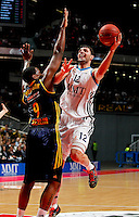 Real Madrid's Nikola Mirotic  and Alba Berlin's  Deon Thompson during Euroleague 2012/2013 match.February 22,2013. (ALTERPHOTOS/Javier Lopez) /NortePhoto