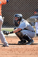 Detroit Tigers catcher Chris Taladay (9) during a minor league spring training game against the Houston Astros on March 21, 2014 at Osceola County Complex in Kissimmee, Florida.  (Mike Janes/Four Seam Images)