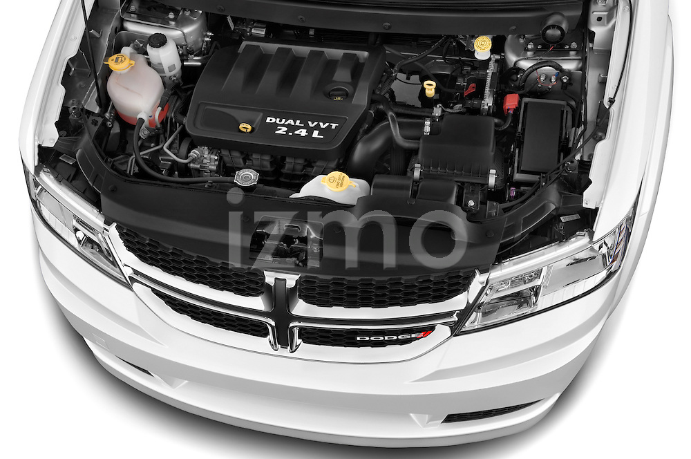Car Stock 2015 Dodge Journey American Value Package 5 Door SUV Engine high angle detail view
